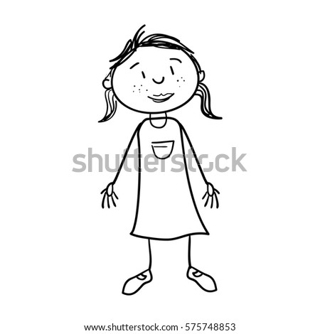 Cute Girl Drawing Icon Stock Vector Royalty Free 575748853