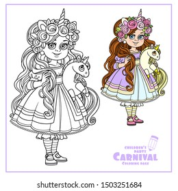 Cute girl in dress and tiara with a plush unicorn in hands color and outlined for coloring page