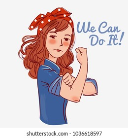 Cute girl dressed as the iconic Rosie the Riveter. We Can Do It. Iconic woman's fist/symbol of female power and industry