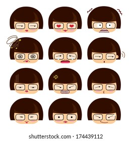 A cute girl emotions, Set of cartoon face emotions, smile,love,mad