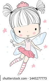 Cute girl fairy with a magic wand