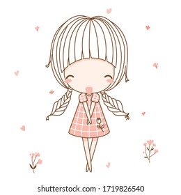 Cute girl, fashion girl, young girl, sweet girl, shy pose. Flat character design. Vector illustration for the t-shirt, print book, greeting card.