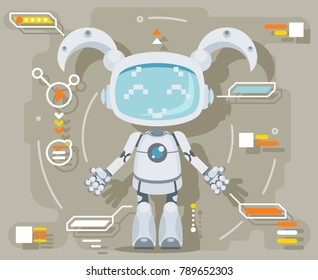 Cute girl female Robot android artificial futuristic intelligence information interface flat design vector illustration