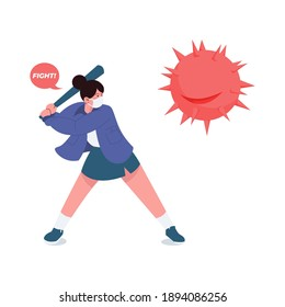 Cute Girl fight again corona virus with baseball stick flat illustration concept fight covid-19. Women keep fight corona flat styled illustration vector in isolated background. Healthy when pandemic