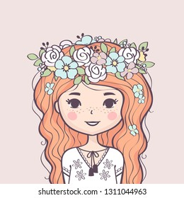 Cute girl in flower wreath. Beautiful girl with long red hair and flowers. Vector illustration