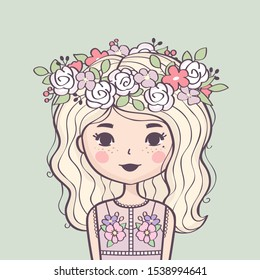 Cute girl in flower wreath. Beautiful girl with long blond hair and flowers. Vector illustration