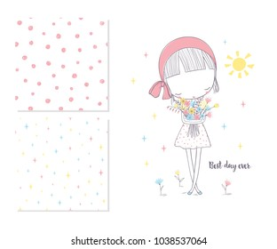 Cute girl with flowers and 2 seamless patterns. T-shirt graphic for kid's clothing. Use for print, surface design, fashion wear
