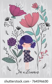 Cute girl with flowers. Fashion print, t shirt graphic, book illustration.