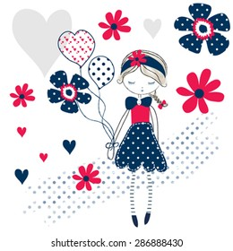 cute girl with flowers, T-shirt design vector illustration