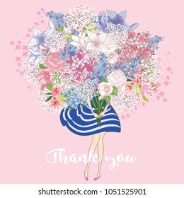 Cute girl with flowers.Cartoon character.