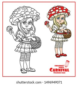 Cute girl in fly Agaric costume with a red hat with spots color and outlined for coloring page