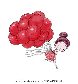 Cute girl flying on balloons against the backdrop of a white. Vector Illustration hand drawing.