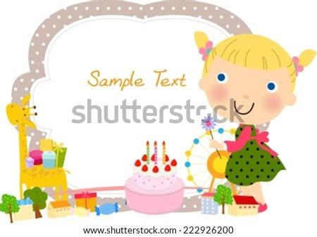 Cute Girl Frame Stock Vector (Royalty Free) 222926200 - Shutterstock