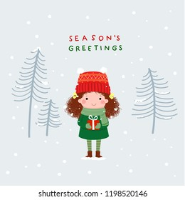 Cute girl with a gift cartoon vector illustration. Christmas and New Year card.