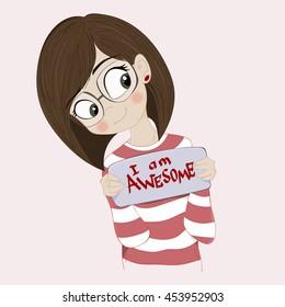 Girl Short Hair Glasses Stock Illustrations Images Vectors