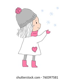Cute Girl in Grey and Pink Hat, Scarf, Gloves, Boots Playing with Snowflakes Vector Illustration