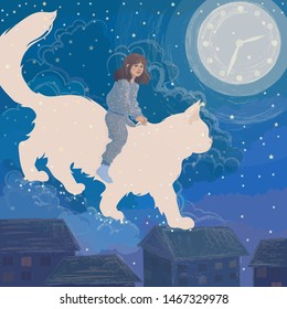 cute girl has a wonderful dream that she travels through the clouds over the city on the back of a magical moon cat