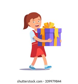 Cute girl holding big ribbon bow wrapped gift box in front of her in arms. Flat style vector illustration isolated on white background.