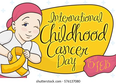 Cute Girl Holding a Golden Ribbon in Childhood Cancer Day, Vector Illustration