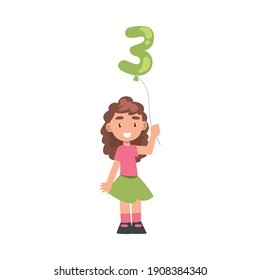 Cute Girl Holding Green Balloon Shaped as 3 Number Cartoon Style Vector Illustration