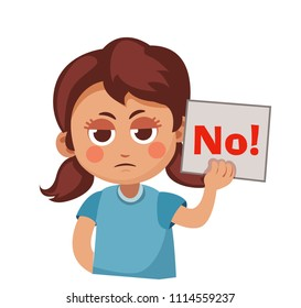 """cute girl holding a sign that says """"No!"""". Cartoon vector illustration"""
