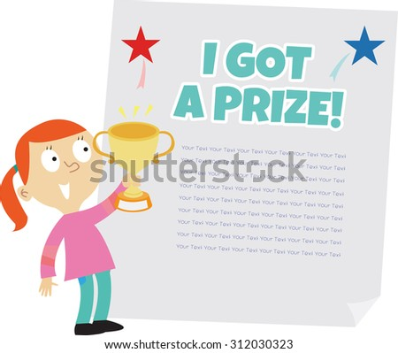 cute girl holding trophy template stock vector royalty free