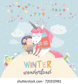 Cute girl hugging unicorn. Winter wonderland