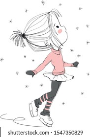 Cute girl ice skating. Christmas card.