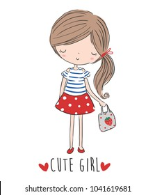 Cute Girl illustration.For apparel or other uses, in vector.