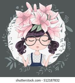 Cute girl illustration in flowers.