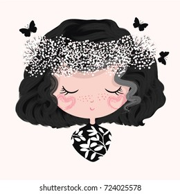cute girl illustration,little cartoon character,cute graphic design for children's books,T-shirt graphic,Girl blowing butterflies,fashion girl,For apparel or other uses,in vector.Princess print
