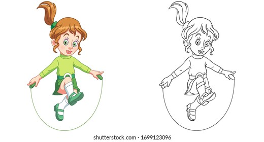 Cute girl jumping with skipping rope. Coloring page and colorful clipart character. Cartoon design for t shirt print, icon, logo, label, patch or sticker. Vector illustration.