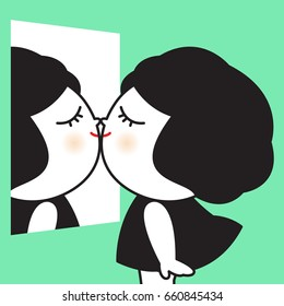A Cute Girl Kissing Her Own Reflection In A Mirror Concept Card Character illustration