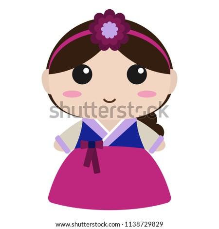 Cute Girl Korean Hanbok Cute Girl Image Vectorielle De Stock Libre