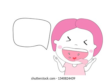 cute girl laughing  doodle hand draw cartoon vector eps.10