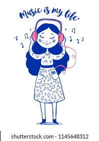 Cute girl listening to music.  Hand drawn Vector illustration.