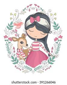 Cute girl and little deer vector design.