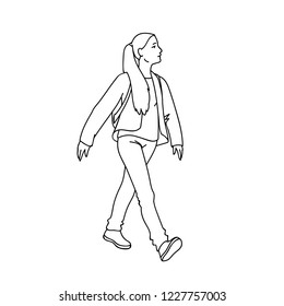 Cute girl with long hair taking a walk. Black lines isolated on white background. Concept. Vector illustration of girl going for a stroll in simple line art style. Monochrome hand drawn sketch.
