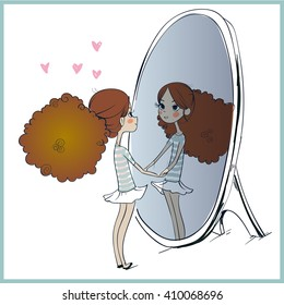 cute girl looking at her reflection in mirror.