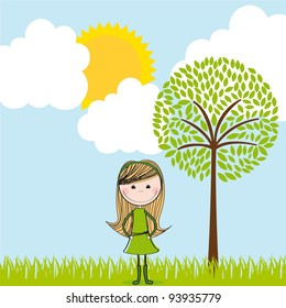 cute girl over summer landscape. vector illustration