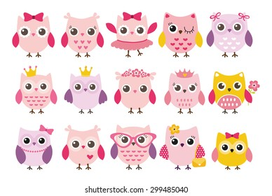 Cute girl owls vector set. Baby showers, parties for baby girls.