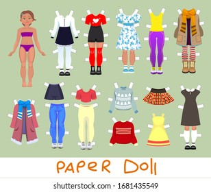 Cute girl Paper Doll with Set of Clothes and Shoes