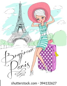 Cute Girl In Parisbonjour Parisgood Morning Paris