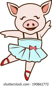 Cute girl pig dancing ballet.  EPS 10
