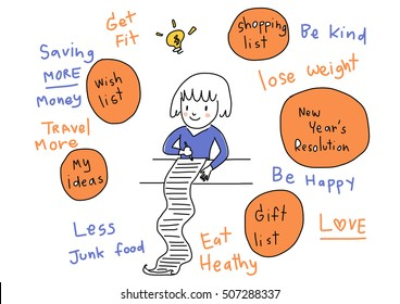 Cute girl planning her future and writing down her list and ideas. New year' s resolution. Gift list. Shopping list. Words regarding wish list included. Vector Illustration.