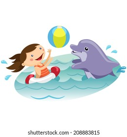 Cute girl playing ball with dolphin