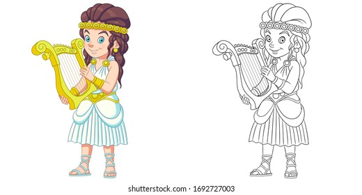 Cute girl playing harp. Coloring page and colorful clipart character. Cartoon design for t shirt print, icon, logo, label, patch or sticker. Vector illustration.