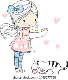 Cute girl playing with a kitten