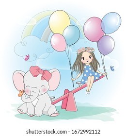 cute girl playing seesaw with little elephant