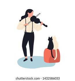 Cute girl playing violin for her cats. Funny adorable female musician and kittens isolated on white background. Musical performance for domestic animals. Flat cartoon colorful vector illustration.